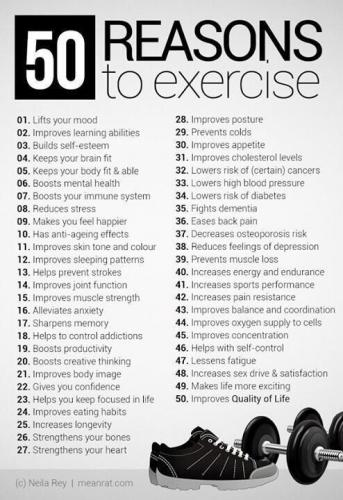 50 reasons to exercise for health